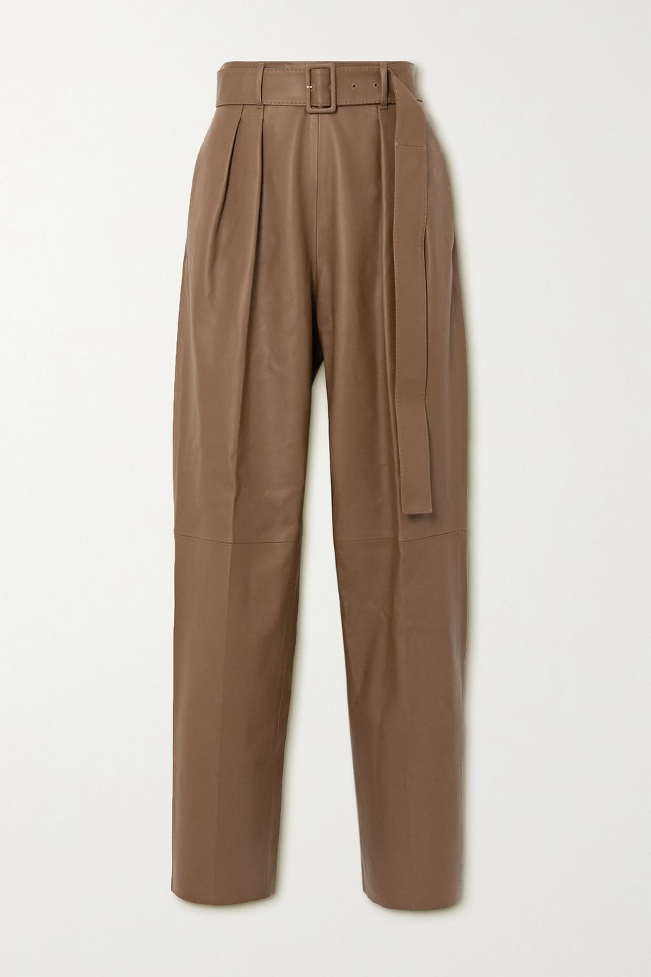 Agnona Belted leather tapered pants