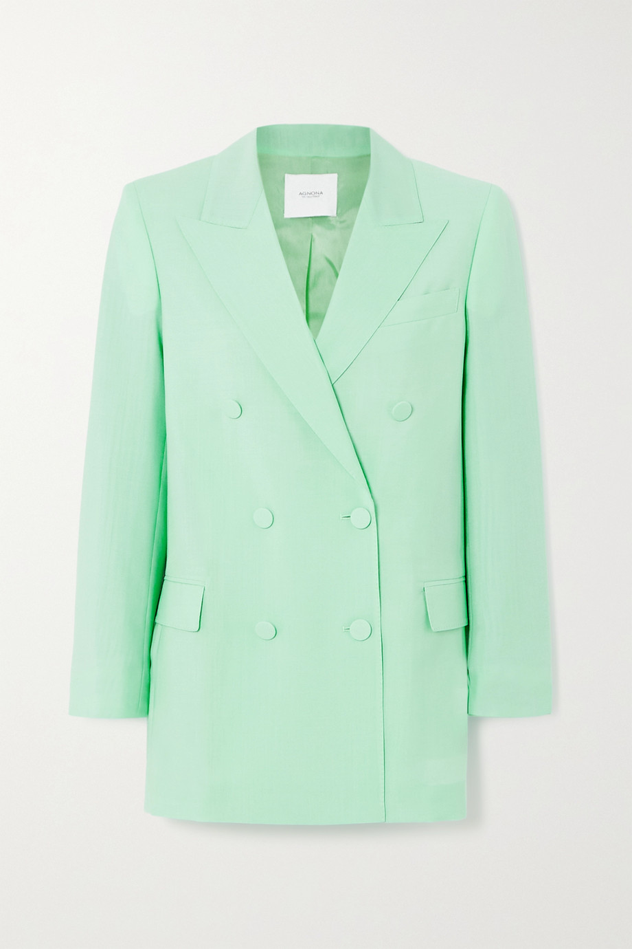 Agnona Belted double-breasted mohair and wool-blend blazer