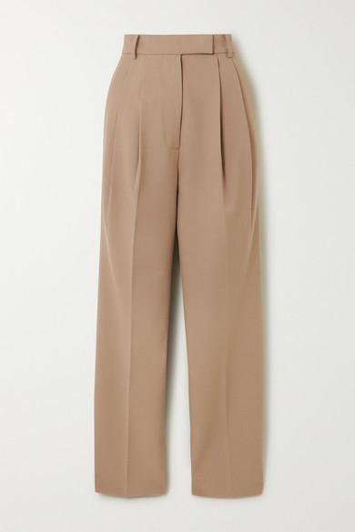 Bea Pleated Gabardine Straight Leg Pants by Frankie Shop