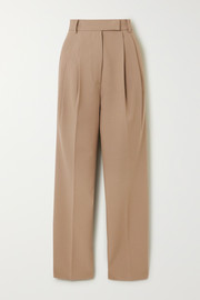 Bea pleated gabardine straight-leg pants