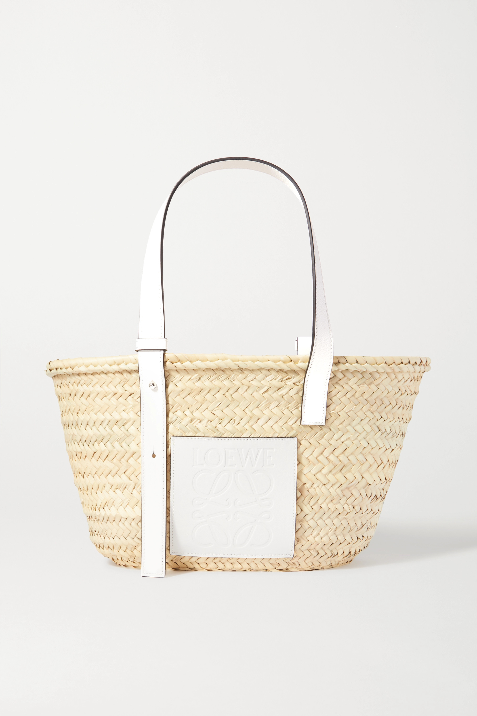Mini Trend: Loewe's Leather-Trimmed Woven Raffia Tote