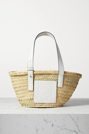 Small leather-trimmed raffia tote