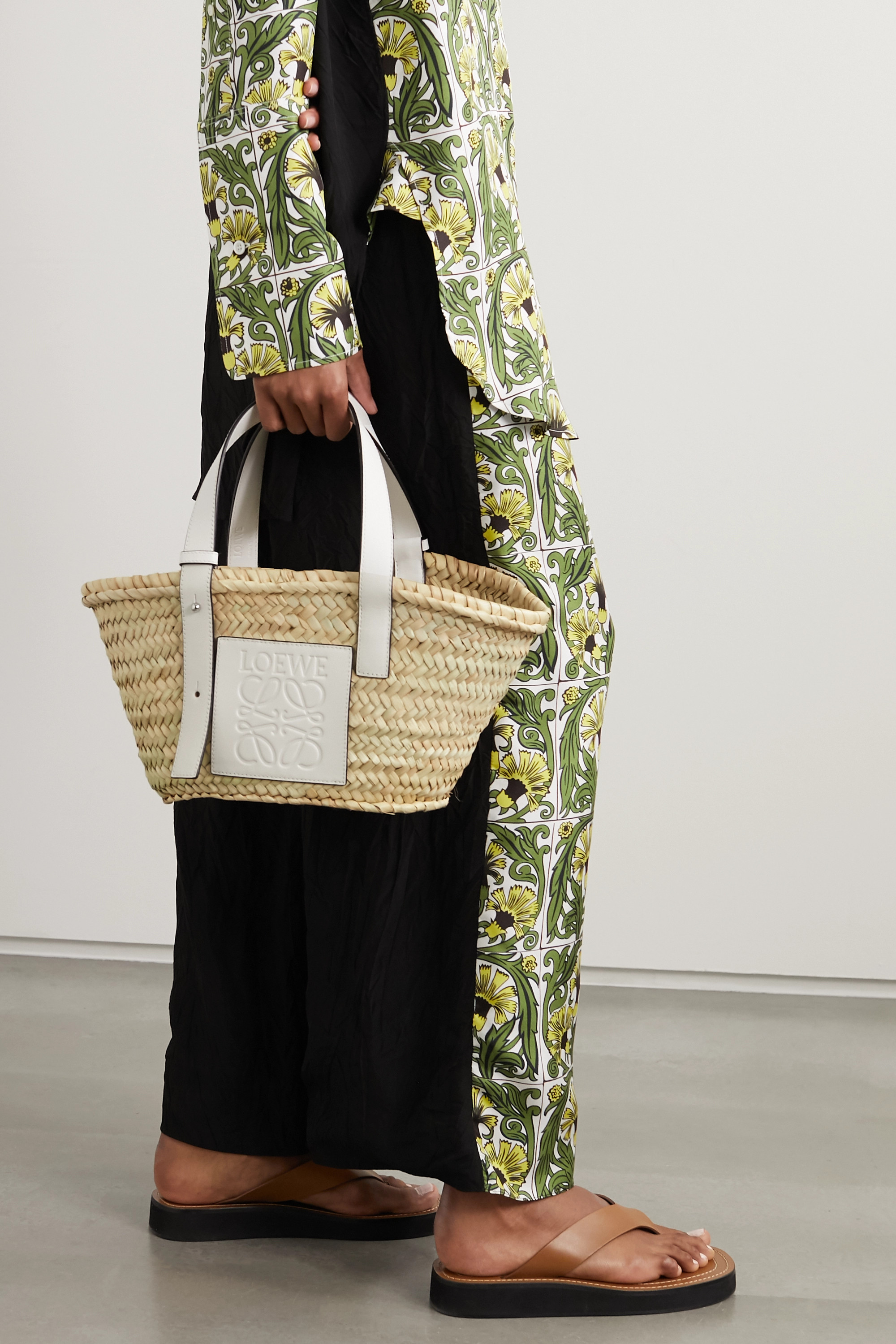 Loewe Small leather-trimmed woven raffia tote