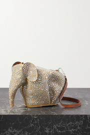 Loewe Elephant mini crystal-embellished suede shoulder bag