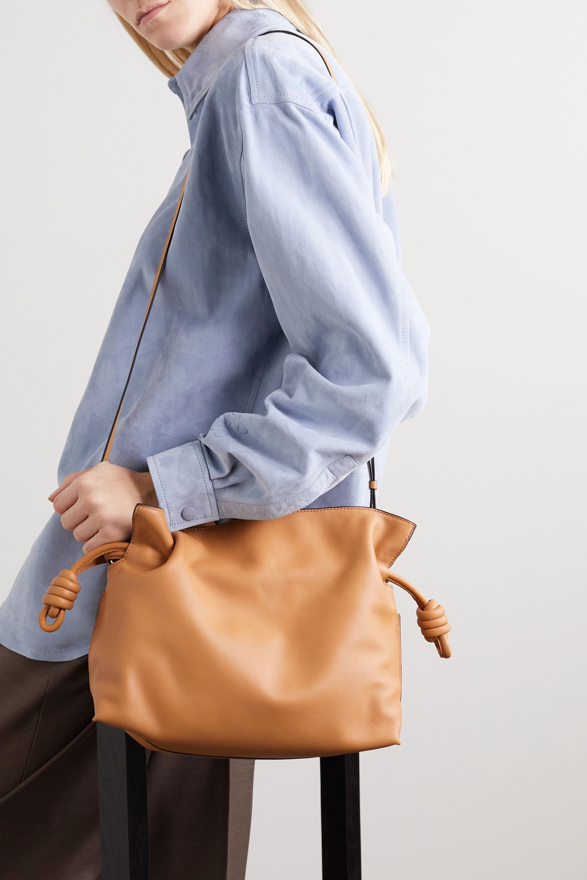 Camel Flamenco leather clutch | Loewe | NET-A-PORTER