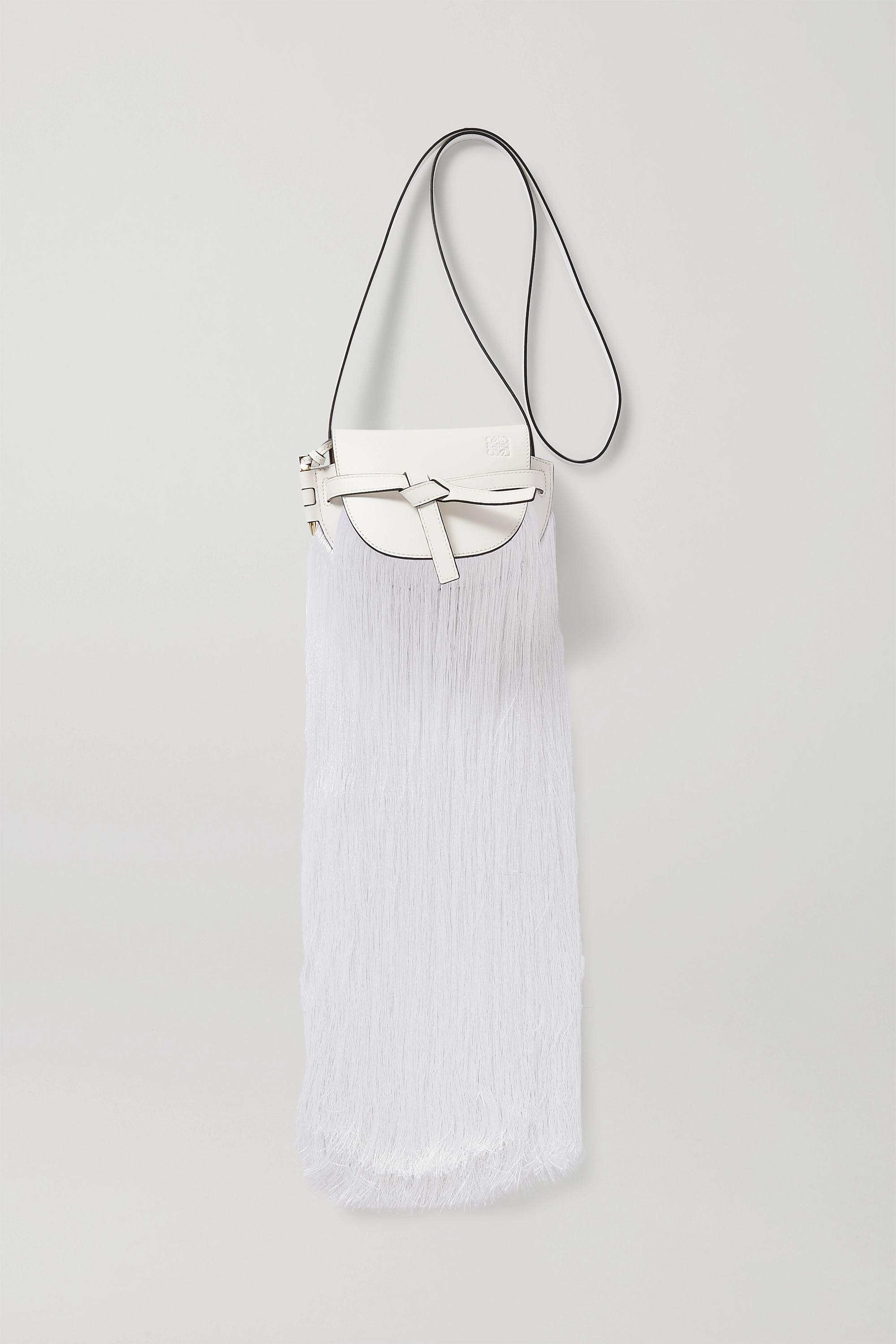 Loewe Gate mini fringed leather and silk shoulder bag