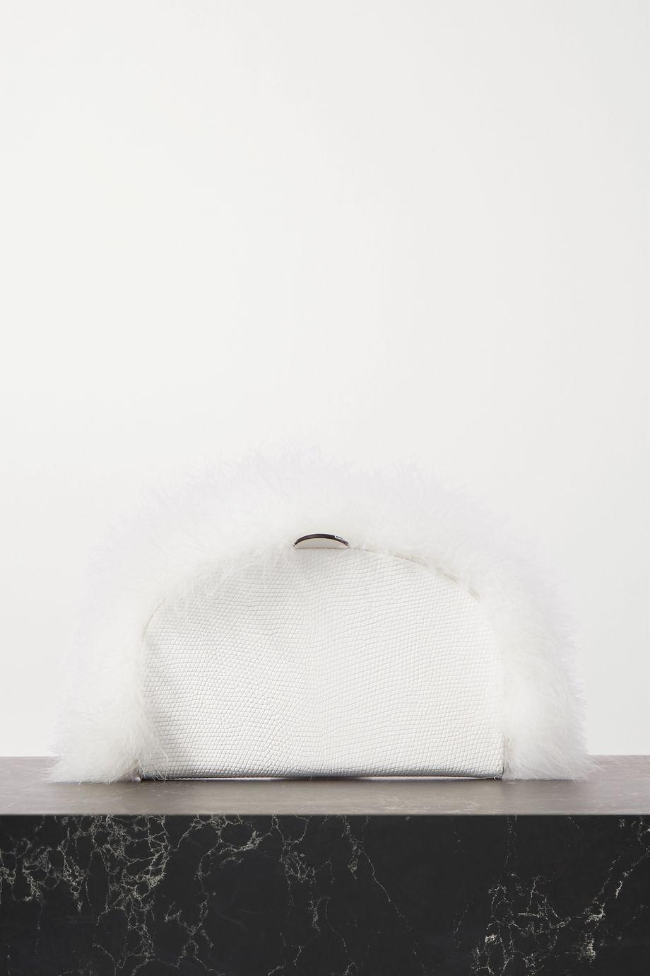 Loewe Heel feather-trimmed lizard-effect leather clutch