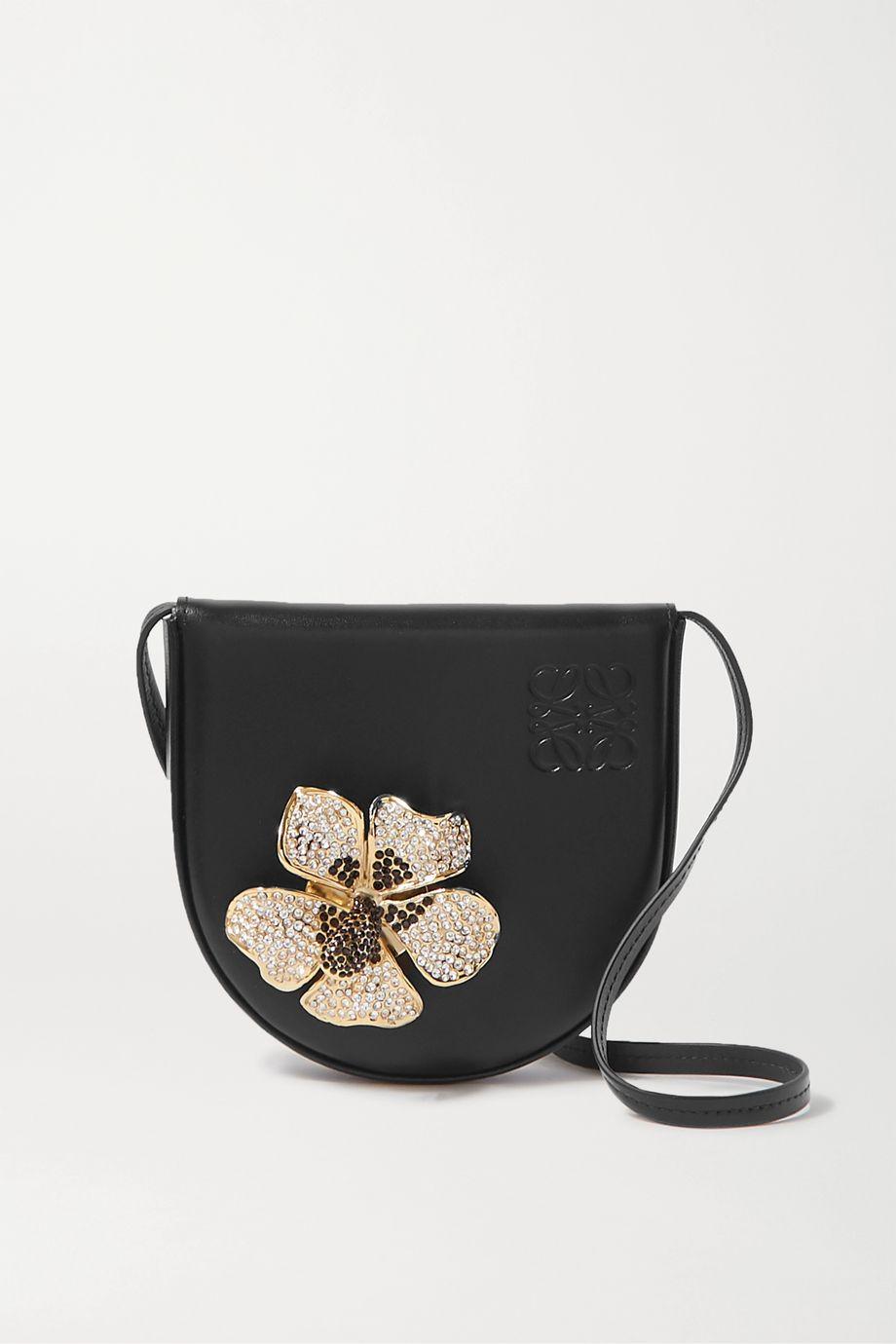 Loewe Heel small crystal-embellished leather shoulder bag