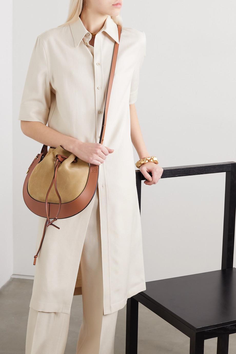 Loewe Horseshoe two-tone suede and leather shoulder bag
