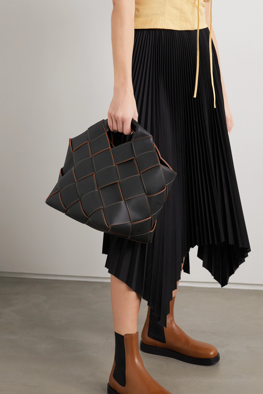 Loewe Woven textured-leather tote