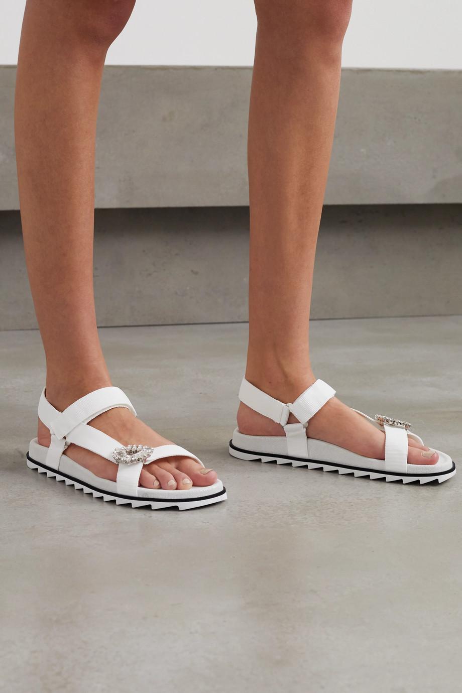 Roger Vivier Trekky Viv crystal-embellished grosgrain and suede sandals