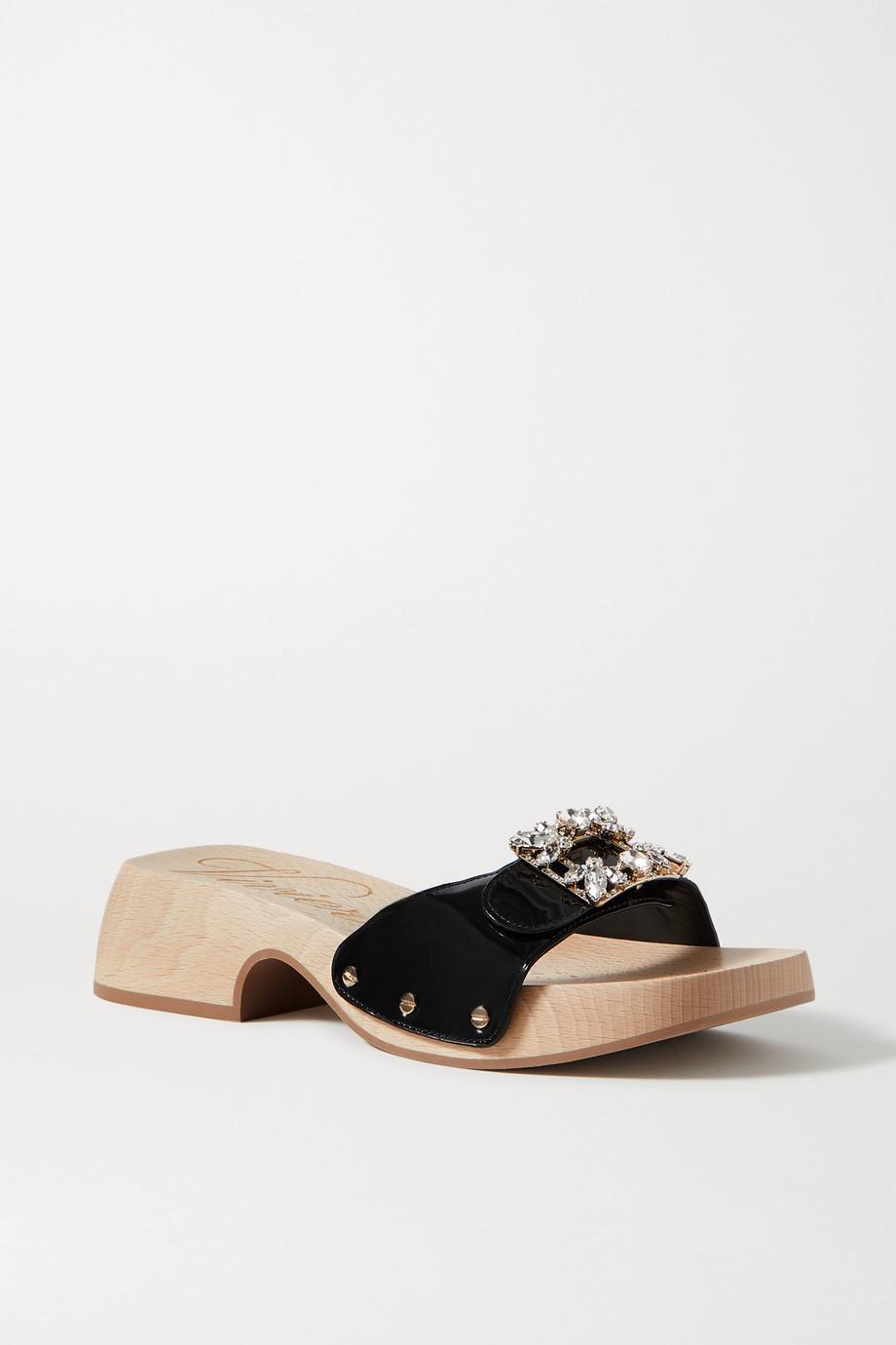 Roger Vivier Viv 水晶缀饰漆皮穆勒鞋