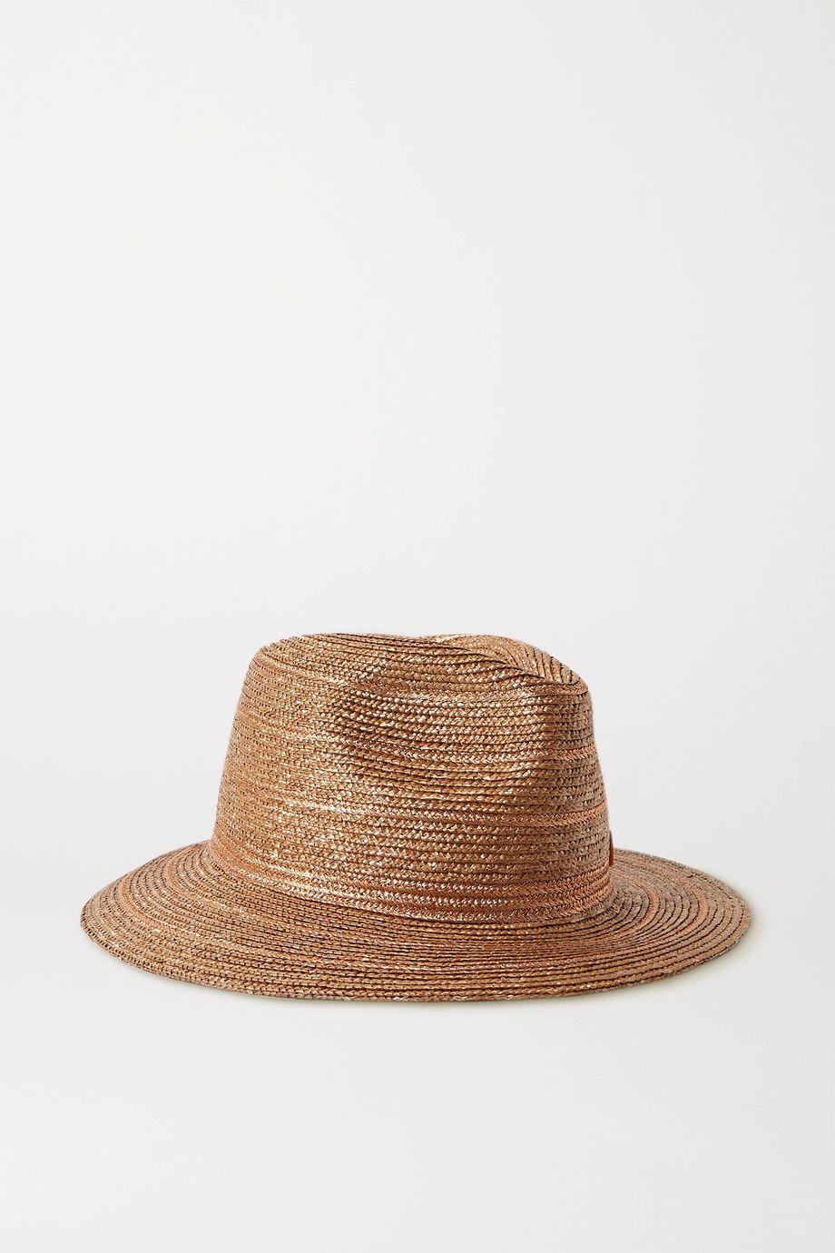 Maison Michel Rico 金属感边饰浅顶卷檐草帽