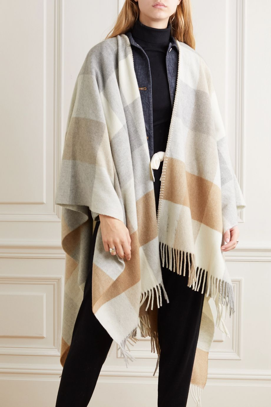 Holzweiler + NET SUSTAIN fringed checked wool and cashmere-blend wrap