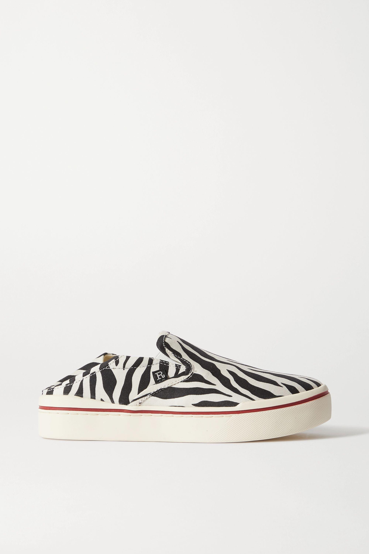 Upstream accident winter  Black Zebra-print canvas collapsible-heel sneakers | R13 | NET-A-PORTER