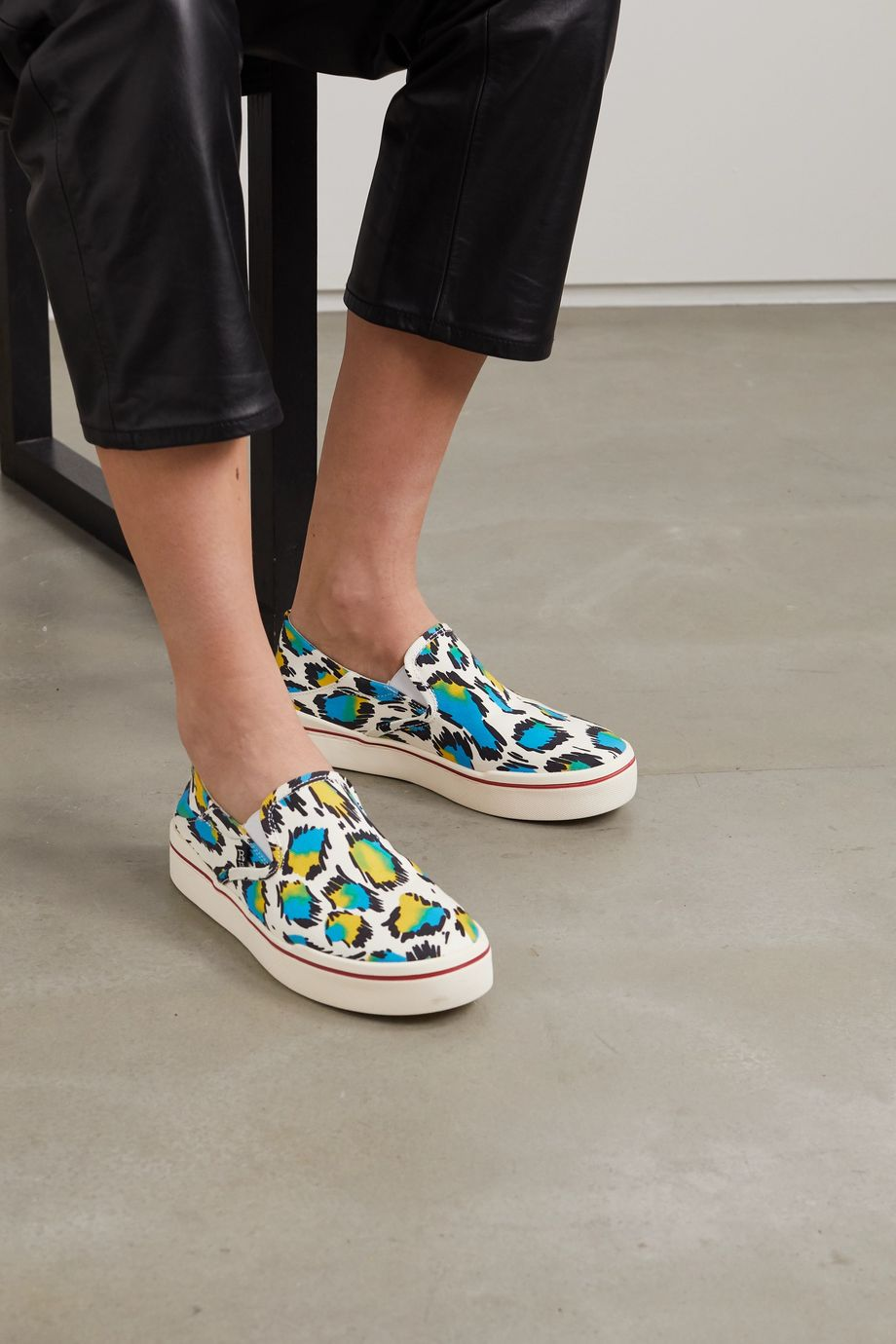 R13 Leopard-print canvas collapsible-heel sneakers