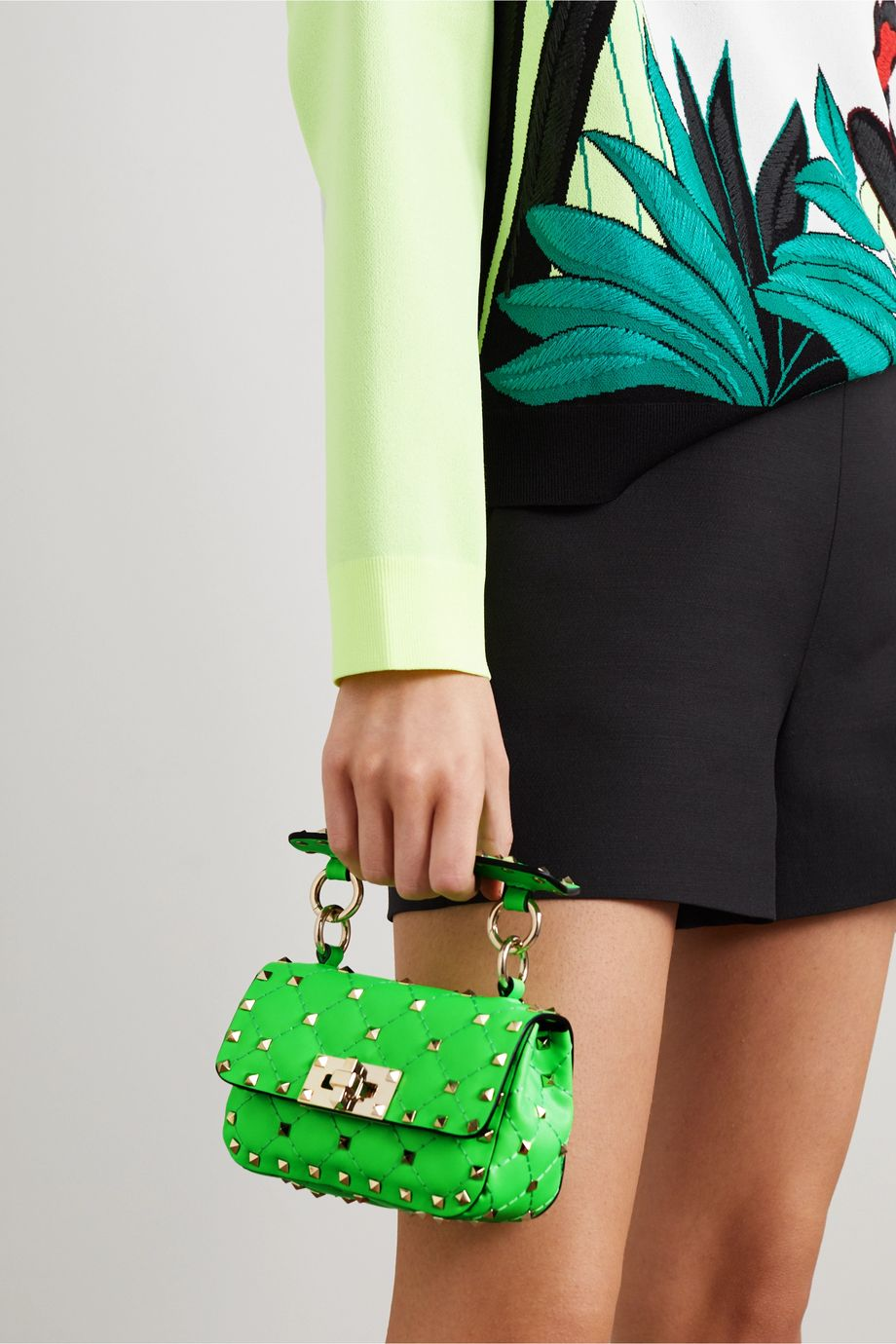 Valentino Valentino Garavani Rockstud Spike mini quilted neon leather shoulder bag