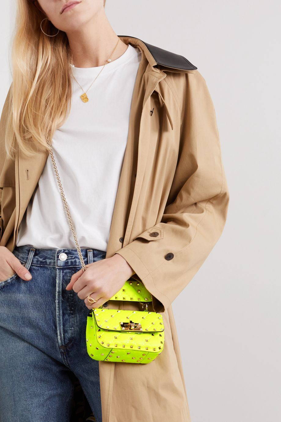 Valentino Valentino Garavani Rockstud Spike micro quilted neon leather shoulder bag