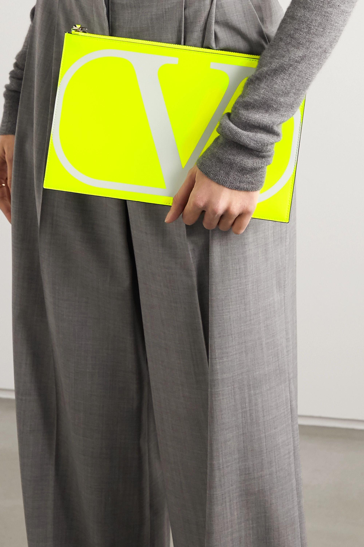 Valentino Valentino Garavani VLOGO large printed neon leather pouch