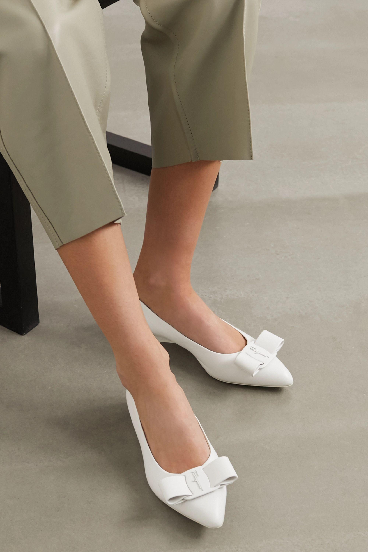 White Viva bow-embellished leather