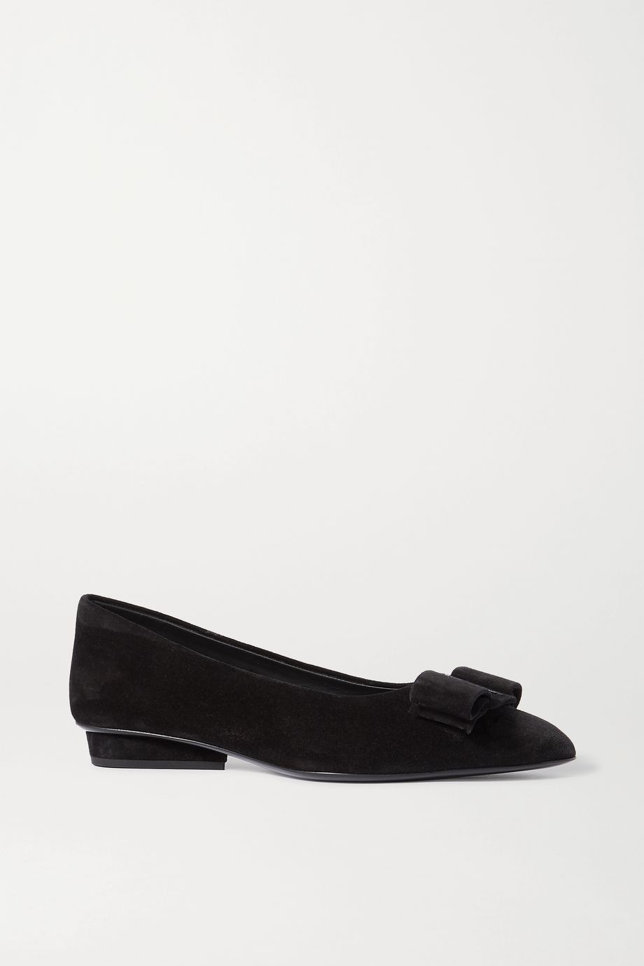 Salvatore Ferragamo Viva bow-embellished suede point-toe flats