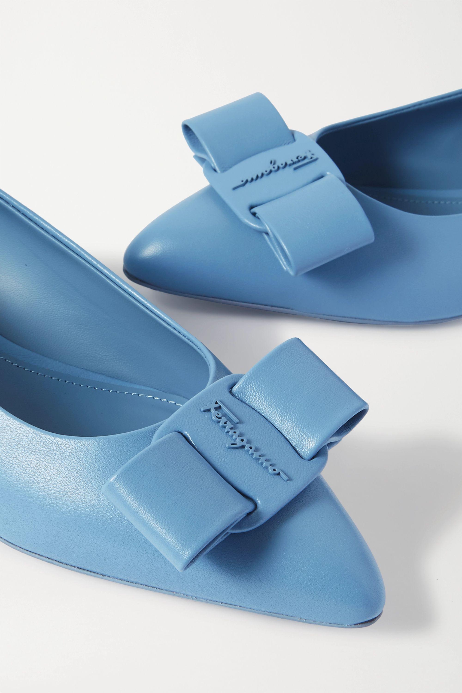 Salvatore Ferragamo Viva bow-embellished leather point-toe flats