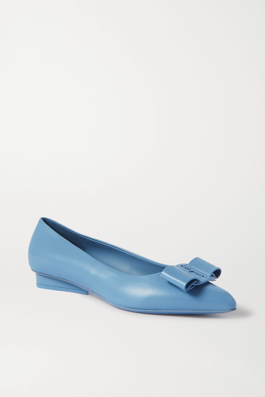 Salvatore Ferragamo Viva bow-embellished leather point-toe flats