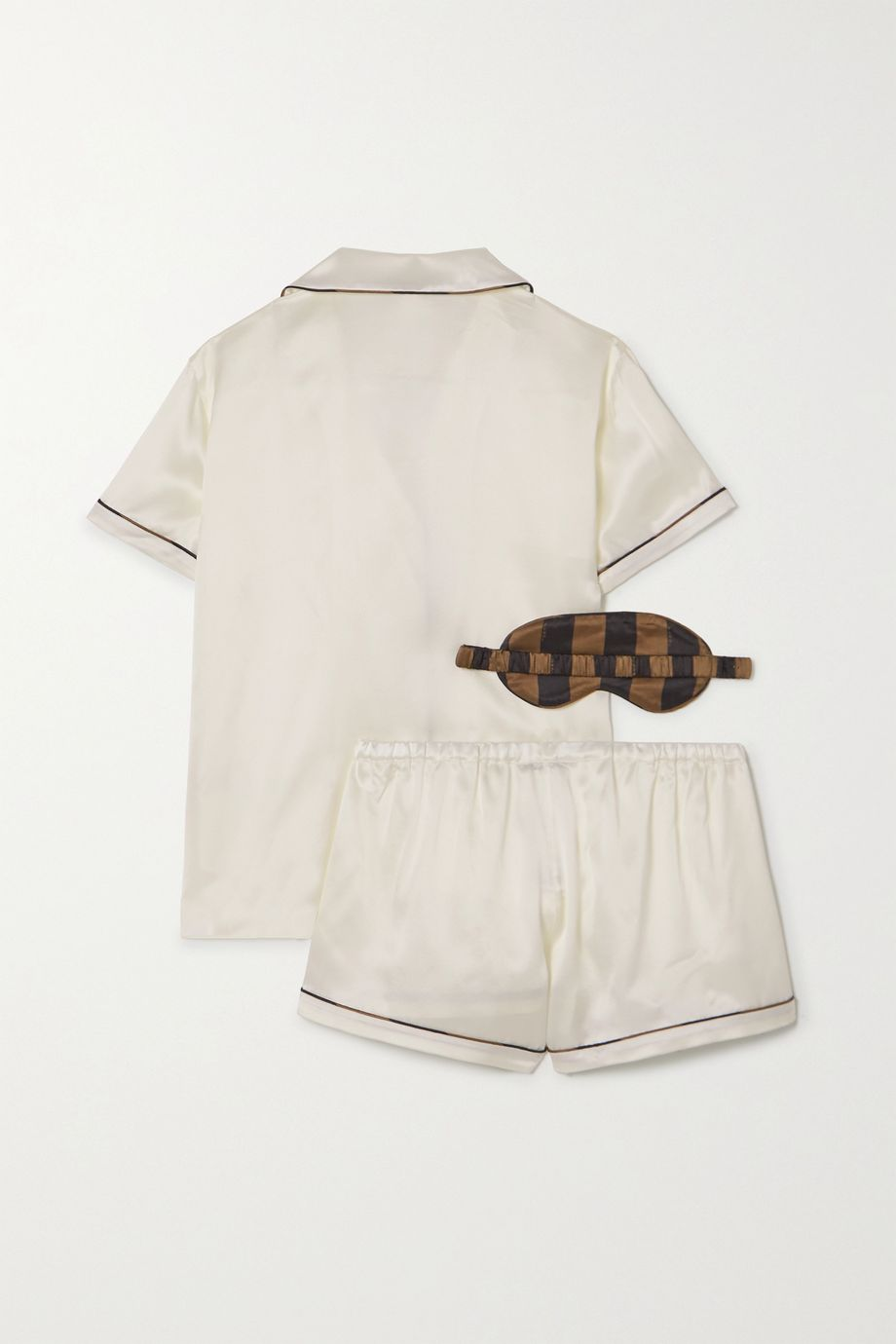 Fendi Piped silk-satin pajama set