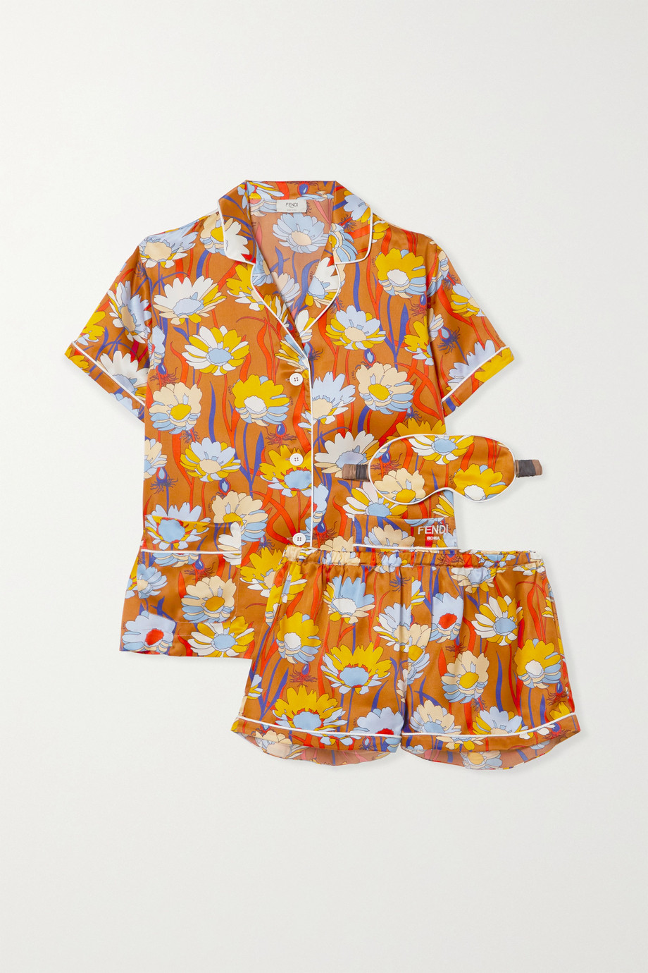 Fendi Floral-print silk-satin pajama set