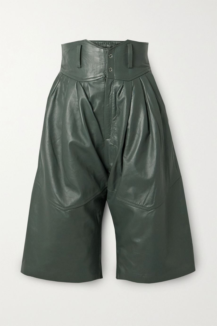 Situationist Pleated leather shorts