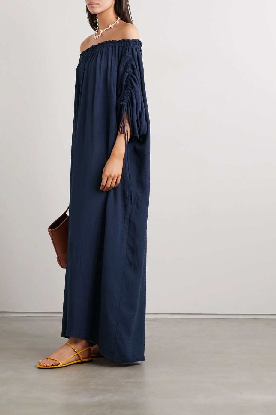 SU Paris Off-the-shoulder ruched seersucker maxi dress