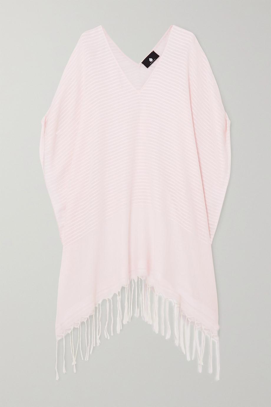SU Paris Luma fringed striped cotton-voile kaftan