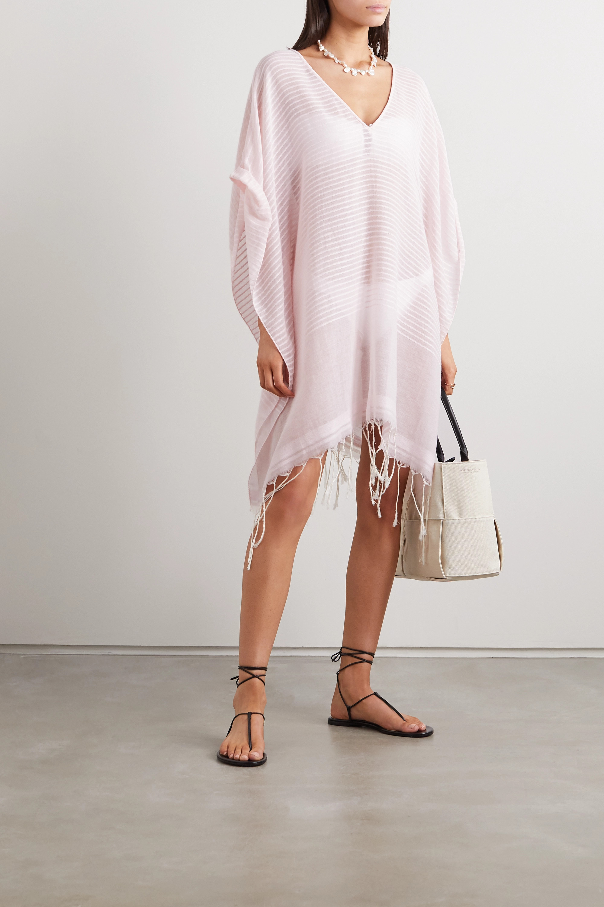 SU Paris Luma fringed striped cotton-voile kaftan