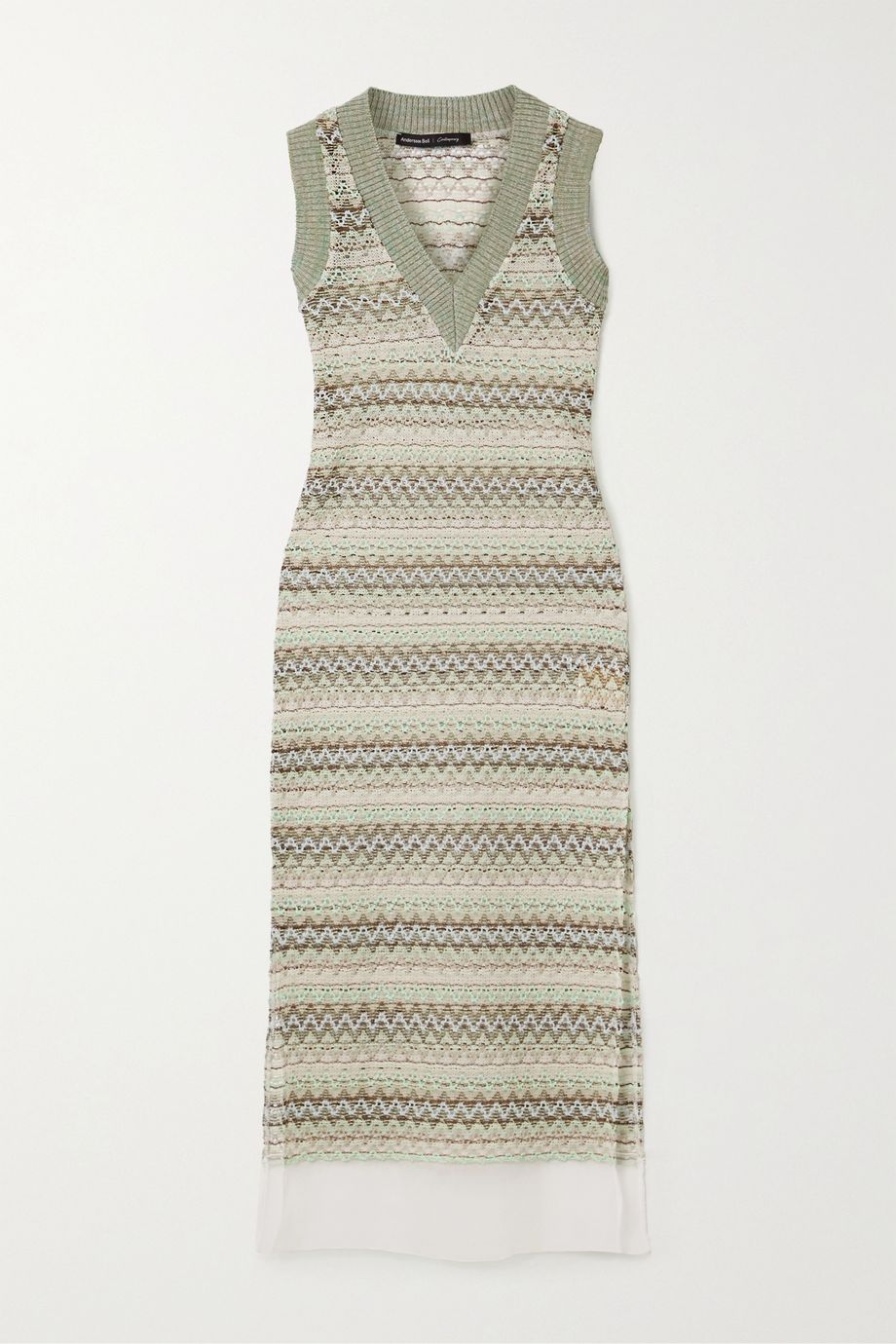 Andersson Bell Jessica silk crepon-trimmed crochet-knit midi dress
