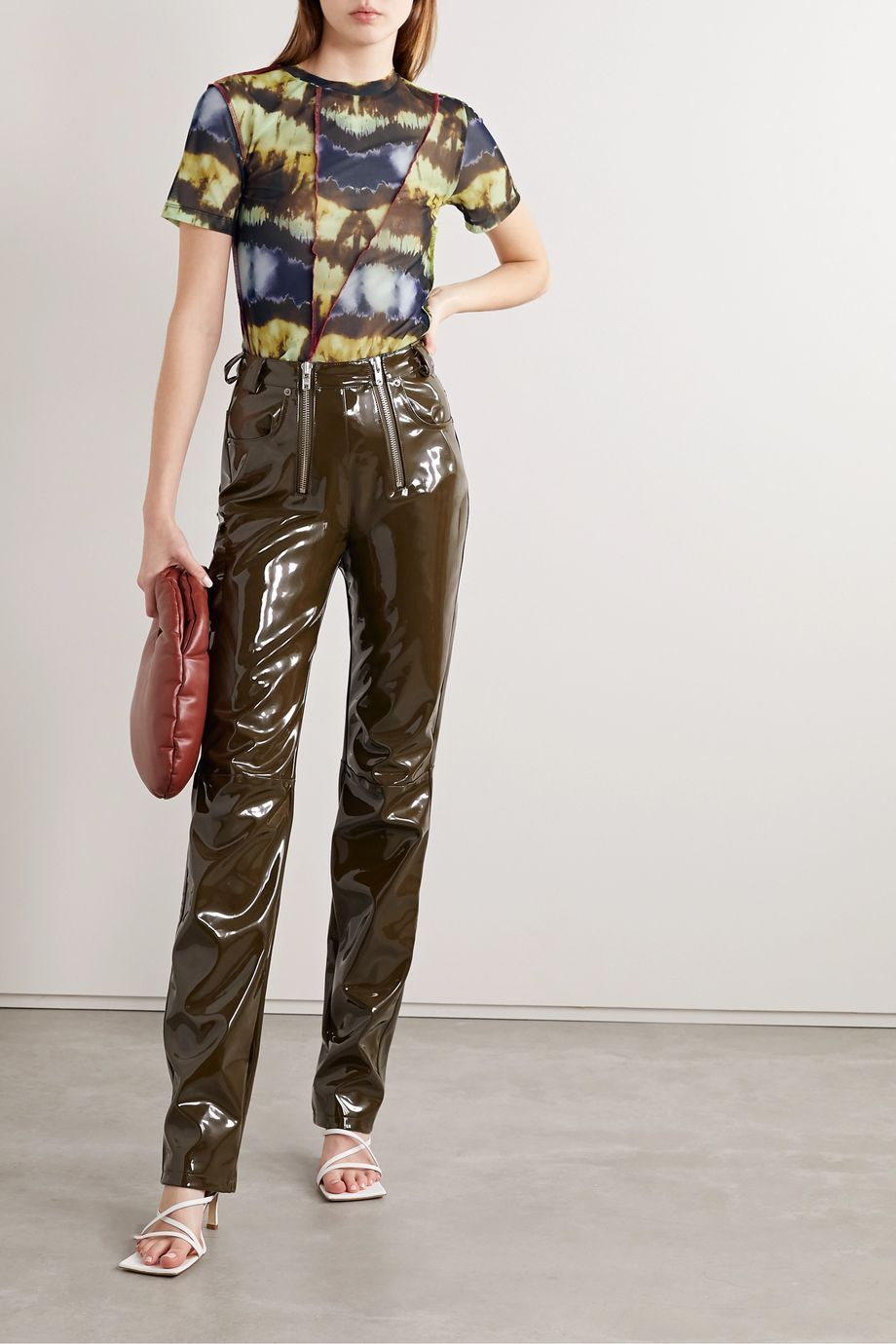 Andersson Bell Paneled tie-dyed stretch-mesh T-shirt