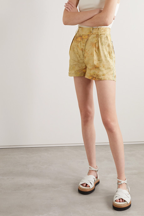 Sunny tie-dyed crepe de chine shorts