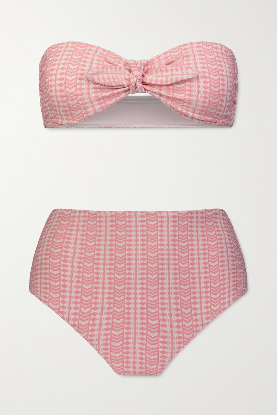 LemLem Lola Bandeau-Bikini aus Stretch-Jacquard
