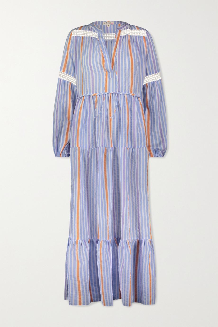 LemLem Bahiri crochet-trimmed striped linen-blend maxi dress