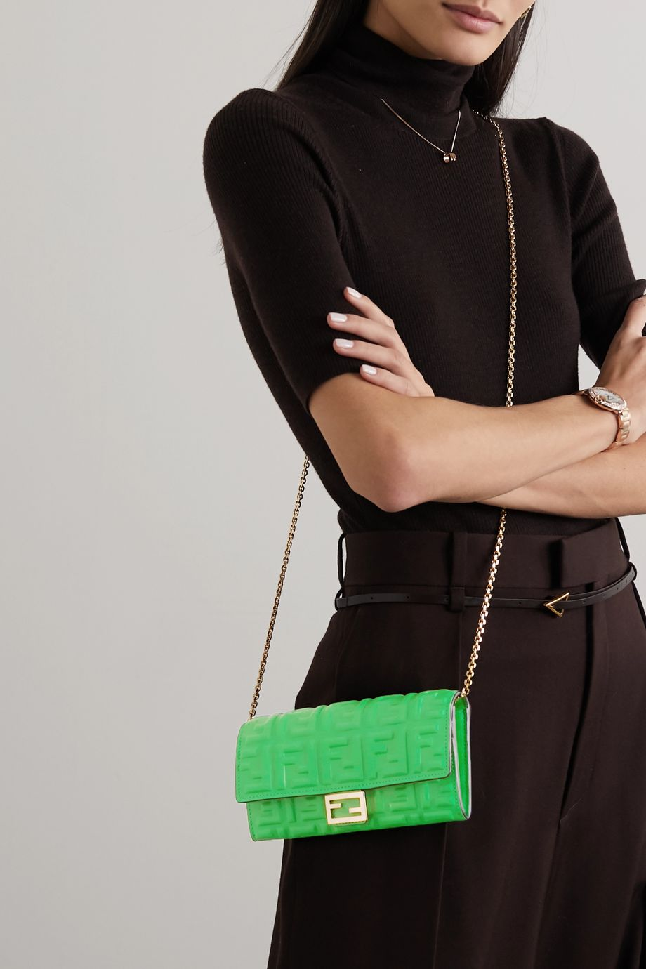 Fendi Embossed neon leather shoulder bag