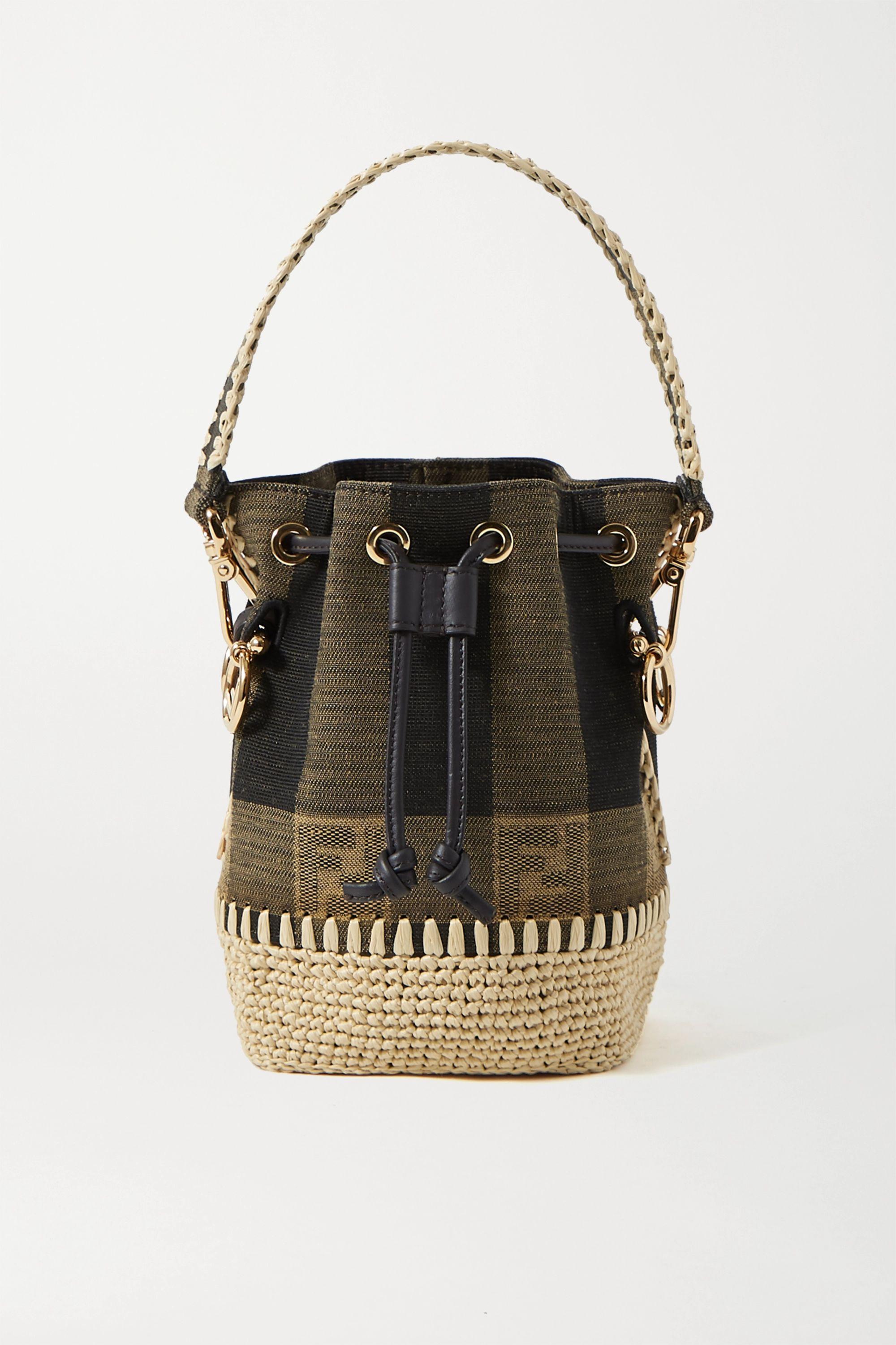 Fendi Mon Trésor mini raffia-trimmed jacquard bucket bag