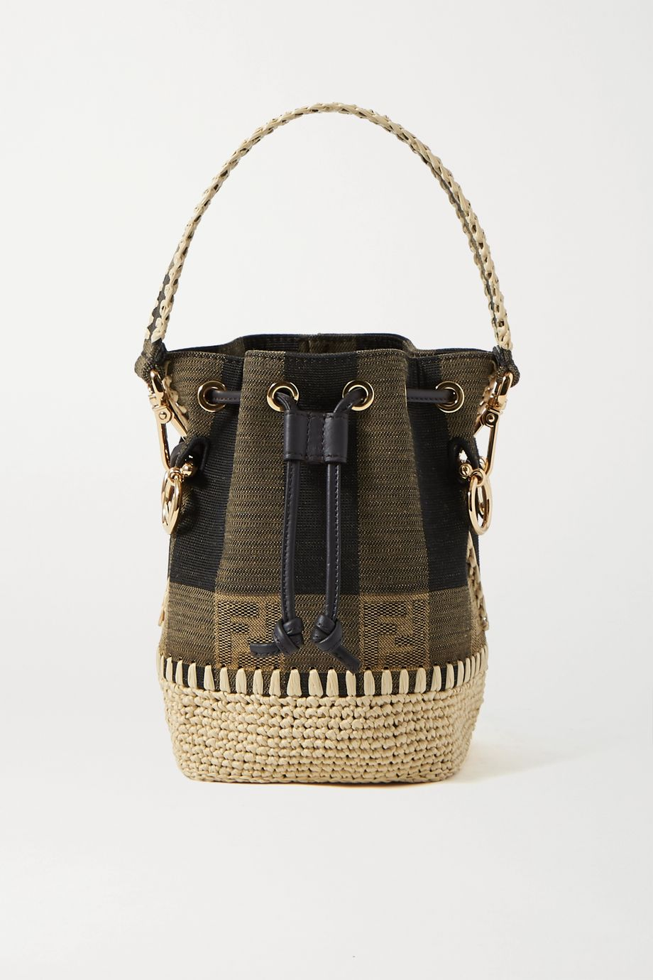 Fendi Mon Trésor mini raffia-trimmed jacquard bucket bag