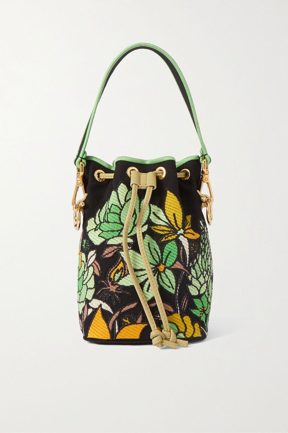 Fendi Mon Trésor leather-trimmed appliquéd canvas bucket bag