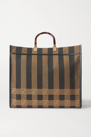 Fendi Sunshine Shopper leather-trimmed canvas tote