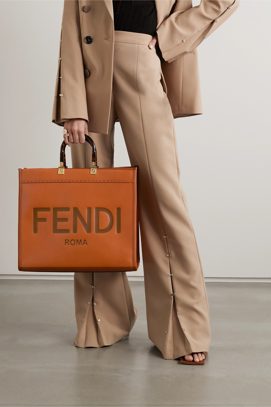 Fendi Sunshine Shopper logo-embossed leather tote
