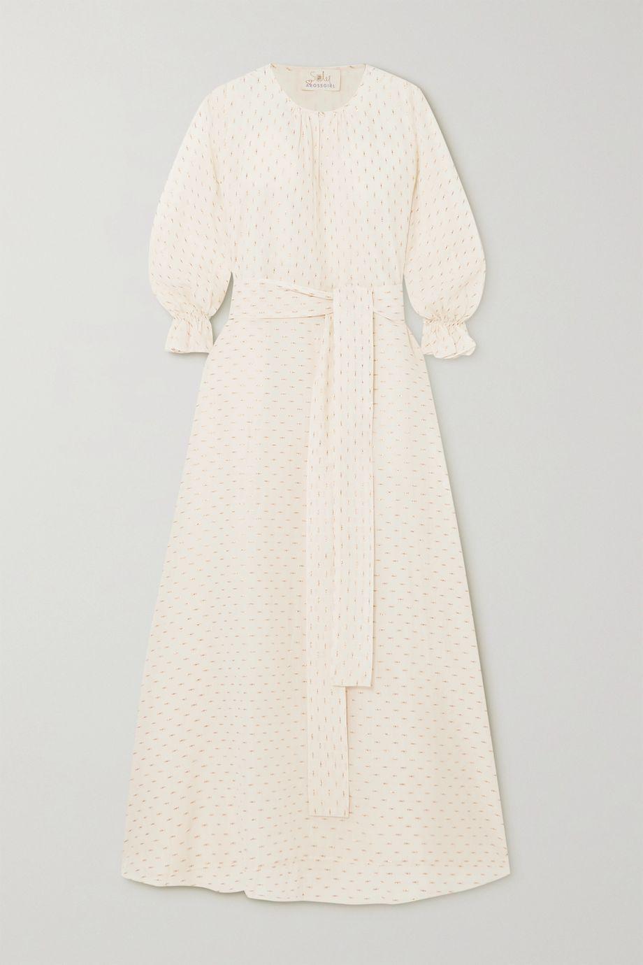 ARoss Girl x Soler Amanda belted metallic fil coupé cotton-blend maxi dress