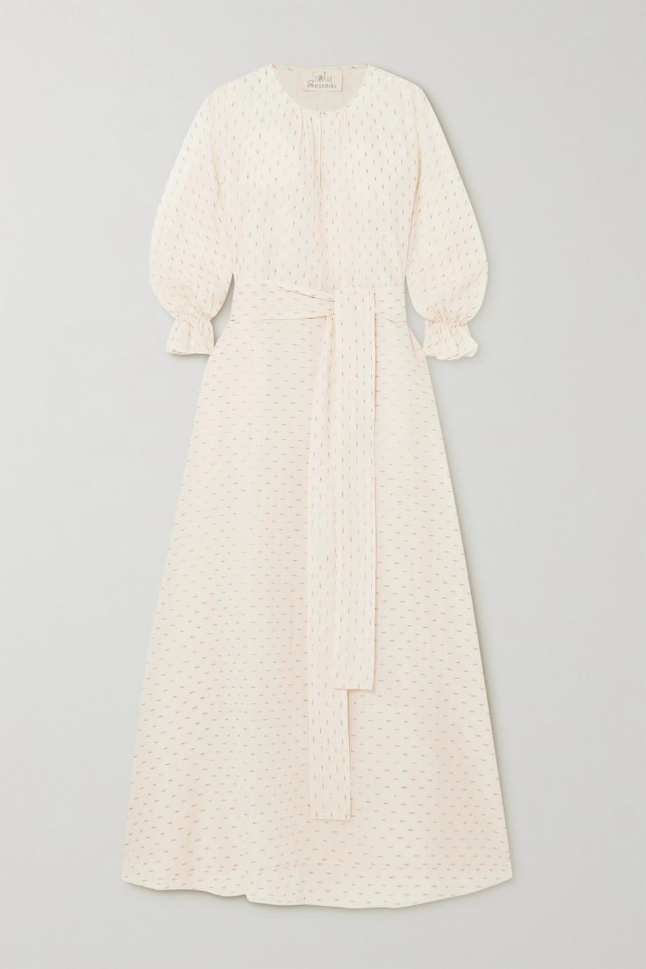 ARoss Girl x Soler | Amanda belted metallic fil coupé cotton-blend maxi dress | NET-A-PORTER.COM