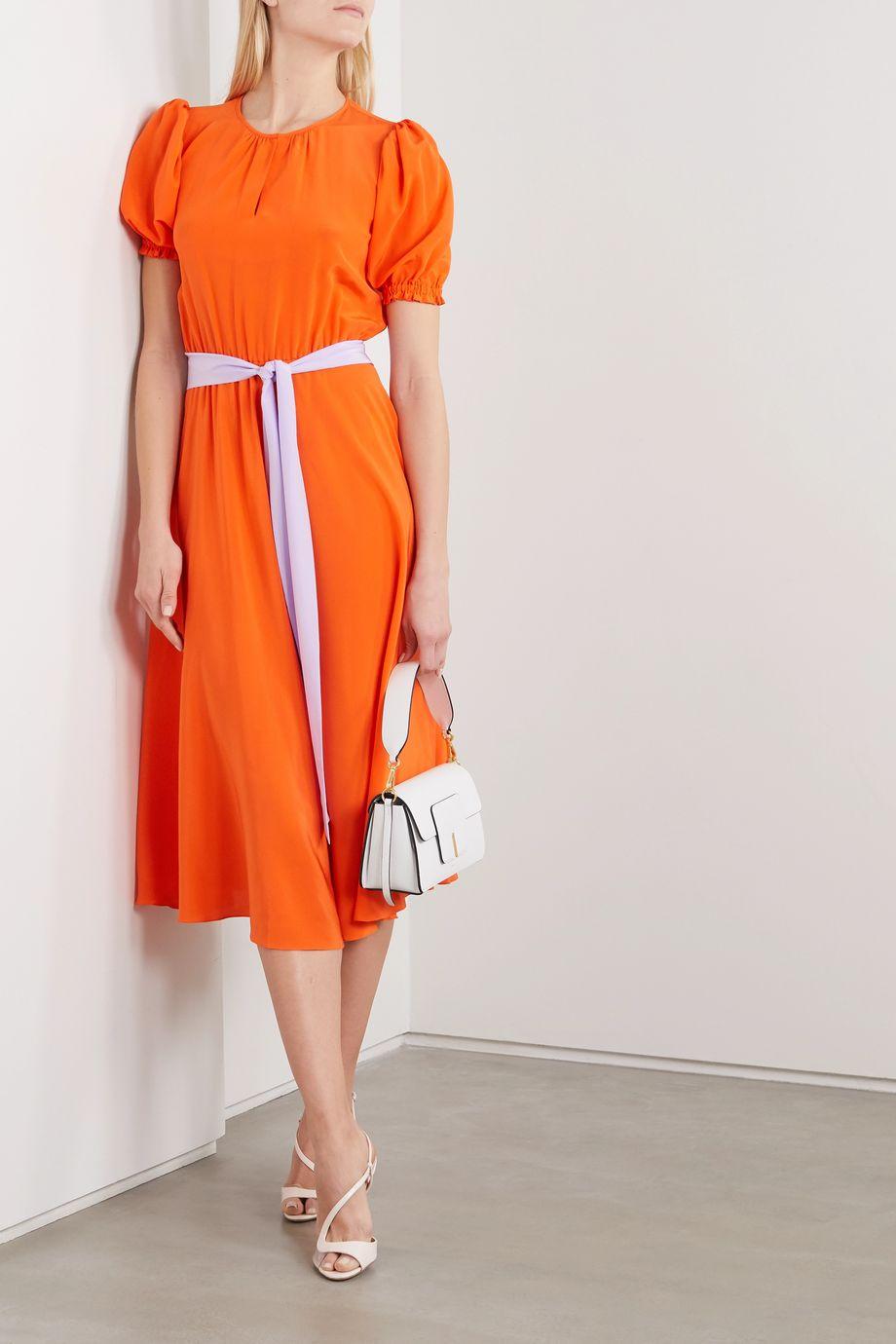 ARoss Girl x Soler Ines belted silk crepe de chine dress