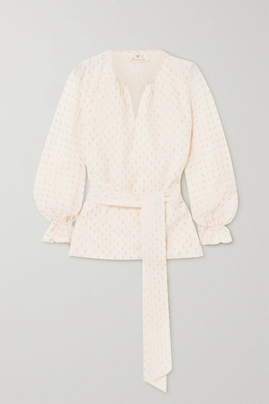 ARoss Girl x Soler Amanda belted metallic fil coupé cotton-blend blouse