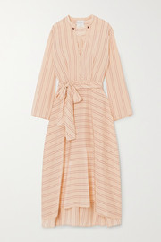 Belted striped satin midi dress