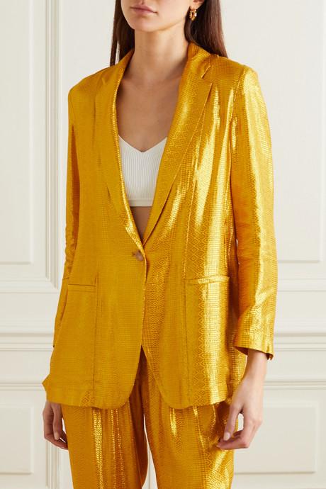 Metallic jacquard blazer